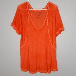 We the Free Orange Burnout V Neck Cuffsleeve Shirt